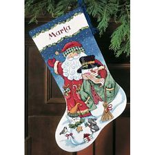 Dimensions D08714 Santa & Snowman Christmas Stocking Counted Cross Stitch Kit