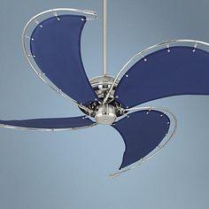 "52"" Aerial Brushed Nickel Blue Canvas Blade Ceiling Fan"