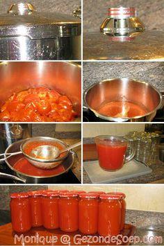 Monique's makkelijk recept om snel zelf lekkere tomatenpuree te maken met verse tomaten zodat je de ganse winter goedkoop soep, stoofpotjes en sauzen maakt.