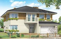 Projekt Gabriela 2 prestiżowy dom o jednopiętrowej bryle przekryty czterospadowym dachem. Dom przeznaczony jest dla 4-6cio osobowej rodziny. Architektura domu nawiązuje do stylu modernistycznego, we współczesnym ujęciu. Elementy jak narożne okna, balkony z zaokrąglonymi balustradami, łukowy wykusz jadalni, podział elewacji na poziome pasy tworzą ciekawą stylistycznie architekturę zewnętrzną budynku.