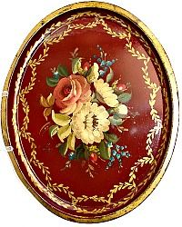Antique French Tole Peinte Red Toleware Tray