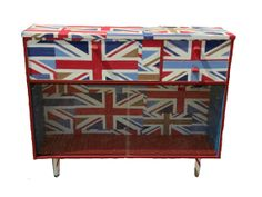 Prestigious Union Jack retro vintage 1970s red white & blue painted sideboard storage cupboard dresser covered in decoupage fabric