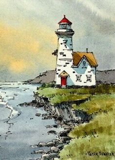 Art Painting, Lighthouse Painting, Watercolor Architecture, Watercolor Landscape Paintings, Painting Art Projects, Landscape Drawing Tutorial, Lighthouse Drawing, Watercolor Illustration, Watercolor Paintings For Beginners