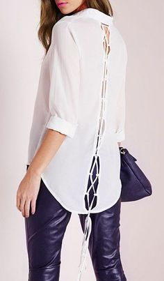 White Lace-Up Hollow Out Shirt ==