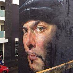 @designopinion Artist Matt Adnate new photorealistic Street Art portrait in Melbourne, Oz. #art #mural #streetart