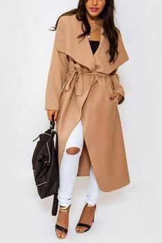 Duster Coat with Waterfall Front And Belt