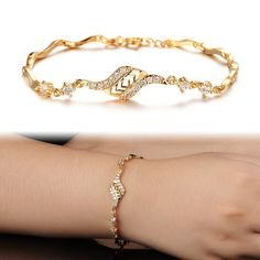 Aubig Womens Gold Plated with Cubic Zirconia Bracelets&Bangles Bridal Jewelry Gold Plated Bracelets, Diamond Bracelets, Gold Bangles, Bangle Bracelets, Braclets Gold, Gold Earrings Designs, Bracelet Designs, Bridal Jewelry, Gold Jewelry