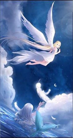 Wall paper paisagem anime New ideas - - Anime Mermaid, Mermaid Art, Beautiful Fantasy Art, Beautiful Anime Girl, Chibi, Kawaii Anime Girl, Anime Art Girl, Fantasy Anime, Image Manga