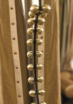Swarovski crystals on MARI IANIQ bespoke curtains and THE brass frame of HAPPY CLOVER mirror by MARI IANIQ. #MARIIANIQ #luxury #bespoke #handmade #Swarovski #crystals #brass #frame #HAPPYCLOVER #mirror #interiors #design #decor