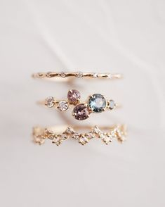 these moody colors paired with diamonds for a weekend stack that's both unexpected and delicate. Our Spinel Sepia Ring sits between an Upon a Star Band and a Lace Edge Ring, all in yellow gold. Find more stacking rings at . Hexagon Engagement Ring, Vintage Engagement Rings, Diamond Bands, Diamond Wedding Bands, Pear Shaped Diamond Ring, Delicate Rings, Delicate Jewelry, Forever, Ring Verlobung
