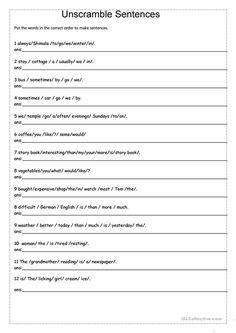 Unscramble Sentences Worksheet - Unscramble Sentences English Esl Worksheets For Distance Scrambled Sentences Worksheets Scrambled Sentences Worksheets Unscramble The Sentences Worksh. Writing Sentences Worksheets, Grammar Sentences, English Worksheets For Kids, 2nd Grade Worksheets, English Sentences, Sentence Writing, Comprehension Worksheets, English Activities, Paragraph