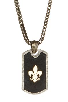 18K Yellow Gold & Oxidized Silver Fleur De Lis Dog Tag Necklace by RCG on @HauteLook