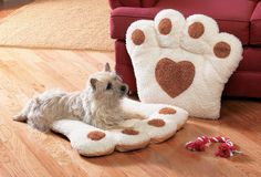 Small Dog Cat Pet Brown Paw Print Pillow Mat Bed Cushion Indoors 26 x 28""