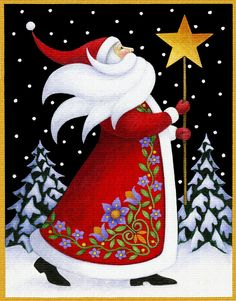 Amazon.com: Art Needlepoint Santa and Star Needlepoint Canvas by Stephanie Stouffer