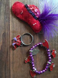 Vintage 3pc Red Hat Society keychain broach bracelet by NevermoreLane on Etsy