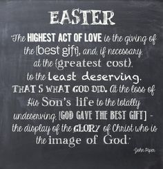 Happy easter everyone he is risen i wish you all a blessed day as easter chalkboard quote gospel in a few words negle Images