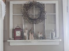 Repurposed Old Window To Shelf Decoration