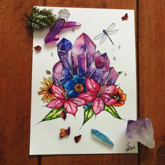 Another tattoo commission :) tanzanite colour themed crystal and flower cluster ~ different flowers/