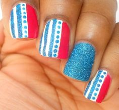 This is a great 4th of July look! Featuring Zoya PixieDust in Liberty by Haute Lacquer: 2 Easy Fourth of July Nail Art Designs and Tutorial