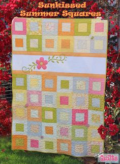Summer Squares Quilt « Moda Bake Shop, charm squares jelly roll squares, minus the applique for charity quilts.