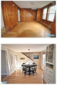 Before & After -- outdated paneled walls to FABulous space. http://www.betterafter.net/2012/12/cottage-geez.html?m=1 More