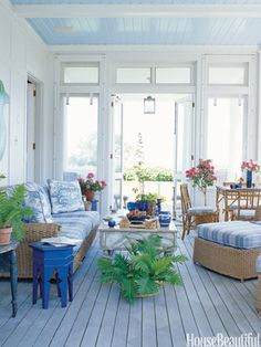 ❤ Paint the Ceiling- (Gorgeous)- Designer Paula Perlin and architect Mark Ferguson created this idyllic blue porch for a Martha's Vineyard home. The sky blue ceiling—Morning Glory by Benjamin Moore—makes for an unexpected, soothing touch. The Walters Wicker Seagrass sofa and armchairs are covered in a Brunschwig & Fils cornflower blue and white plaid.