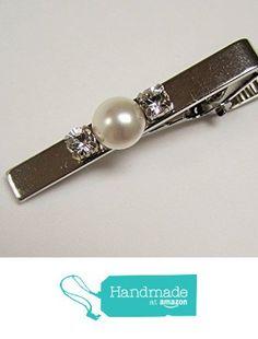 Tie Bar / Tie Clip, white pearl and rhinestone, Silver color accessories for men