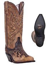 """NEW LAREDO BOOTS Women's CULLISON 11"""" Black n Tan Leather Western Cowboy NIB"""