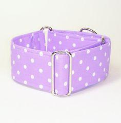 2 Inch Martingale Collar, White Polka Dots on Purple, Sighthound Collar, Greyhound Martingale, Galgo Collar, Hound Collar