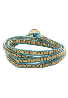 Wrapped Up in Winsome Bracelet. You have your fair share of bangles and cuffs, but when you want to mix your look up a bit, you wear this beaded wrap bracelet! #blue #modcloth