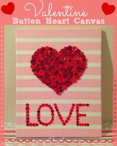 Young At Heart Mommy: Valentine Button Heart Canvas #ValentinesDay #ValentineCraft