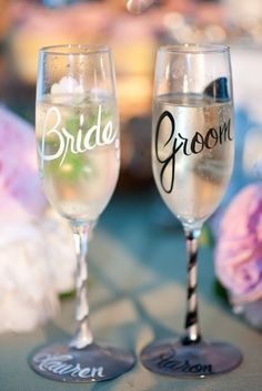 #wedding personalized glassware, cute diy wedding