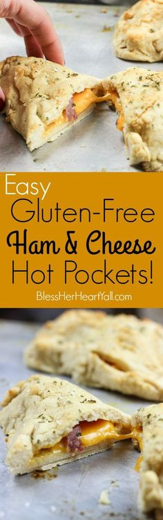 These gluten-free ham and cheese hot pockets (or calzones, or hand pies) are so easy and tasty! Perfectly crispy pockets of smooth soft dough are stuffed with leftover Christmas ham leftovers and melty cheese, closed up, and brushed with an olive oil, honey, brown sugar, and garlic sauce. It's the perfect tasty meal on-the-go and a great way to finish off those Christmas ham leftovers! http://www.blessherheartyall.com
