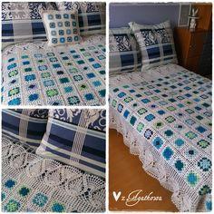 Koc w odcieniach niebieskiego z kwadratów babuni - Shades of blue granny square blanket made by zAgatkowa