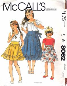 """Vintage 1982 McCall's 8062 Girl's Front Wrap Skirts Sewing Pattern Size Large 12 - 14 Waist 25 1/2"""" - 26 1/2"""" UNCUT by Recycledelic1 on Etsy"""