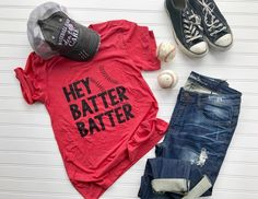Take me out to the Ball game, take me out to the crowd wearing this Hey Batter Batter unisex fit tshirt. We recommend sizing down for a fitted look, stick with Baseball Shirt Designs, Baseball Tees For Women, Baseball Shirts, Sports Shirts, Softball Mom, Baseball Mom, Hey Batter Batter, Preppy Style, My Style