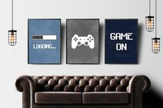 Video Game Wall Art, Gaming Wall Art Set of 3, Blue Gray Nursery Prints for Boy, Gaming Prints Set, Gaming Room Decor, Video Game Party