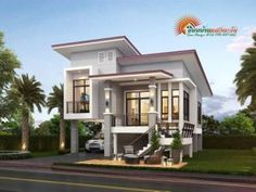 Four Bedrooms Two Storey Modern House - Cool House Concepts Bungalow Floor Plans, Modern Bungalow House, Duplex House Plans, Home Stairs Design, House Gate Design, Home Building Design, Two Story House Plans, Best House Plans, Dream House Plans