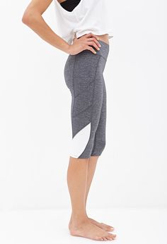 Shared Via Just Sales: Final SaleA pair of lightweight, stretch knit performance capri leggings featuring a colorblocked leg opening with reflective trim. Finished with a banded waist and a hidden key approx. waistMeasured from SmallShell Capri Leggings, Yoga Leggings, Workout Leggings, Workout Attire, Active Wear For Women, Latest Trends, Forever 21, Ballet Skirt, Dresses For Work