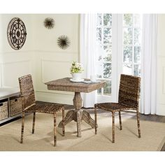 Safavieh Home Collection Cilombo Natural Wicker Dining Chair (Set of 2), 19