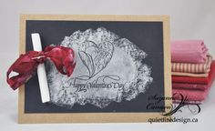 "I used a ""reverse"" chalkboard technique for my Queen of Hearts project.  I used the ornamental heart and Happy Valentine's Day from the new #Quietfire Valentine/Love set which you can find here: http://www.quietfiredesign.ca/product.php?productid=3009=542=1  Quietfire Style: Quietfire's Queen of Hearts Blog Hop"