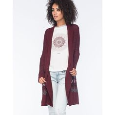 Full Tilt Ethnic Border Print Women Duster Cardigan ($33) ❤ liked on Polyvore featuring tops, cardigans, burgundy, drapey cardigan, womens cardigans, burgundy top, full tilt tops and drapey tops