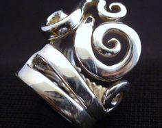 Anillo de plata esterlina sólida horquilla de la por Forkwhisperer