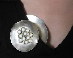 Isabelle Busnel -  white brooches - magnetic brooch, enamel, silver plated copper, magnets - 8cm diam.