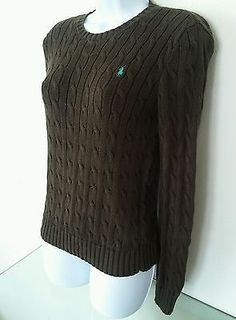 Ralph Lauren Womens Cable knit Sweater XS X-Small 100% Cotton Brown Crew Neck