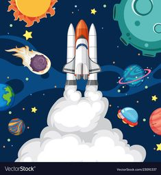 A rocket in the space Royalty Free Vector Image