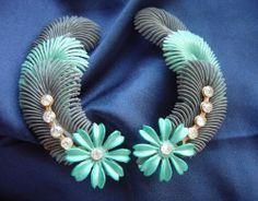 Vintage 1960's Big 7 5cm Blue Plastic Flower Feather Design Earrings 50s 60s   eBay
