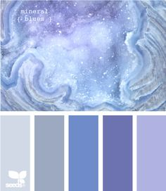 blues palette - great for a serene bedroom!  Ben Moore colors - Spring Purple, Enchanted, Blue Dragon, Violet Mist, Excalibur Gray