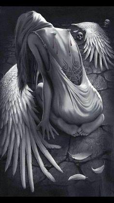 Anime Fallen Angel, Fallen Angel Tattoo, Dark Fantasy Art, Dark Art, Art Sketches, Art Drawings, Angel Artwork, Angel Drawing, Broken Wings