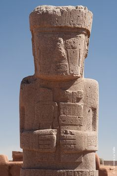 """Monolithic statue """"Idol"""" in the ruins of Tiahuanaco. Tiahuanaco, Bolivia sits high in the Andes at an altitude of around 2 miles above sea level."""